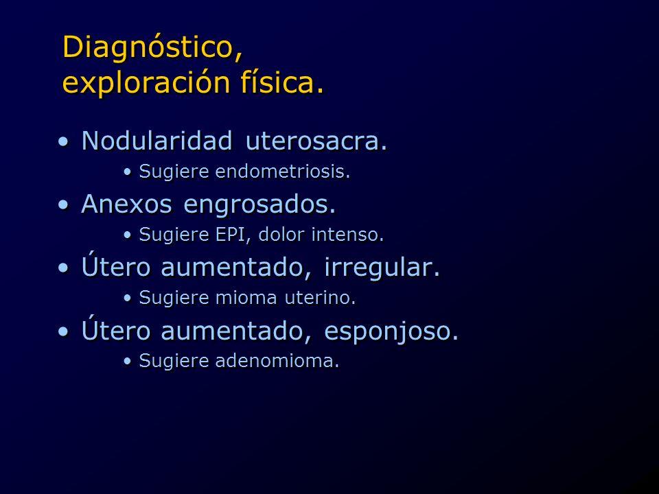 Diagnóstico, exploración física. Nodularidad uterosacra. Sugiere endometriosis. Anexos engrosados. Sugiere EPI, dolor intenso. Útero aumentado, irregu