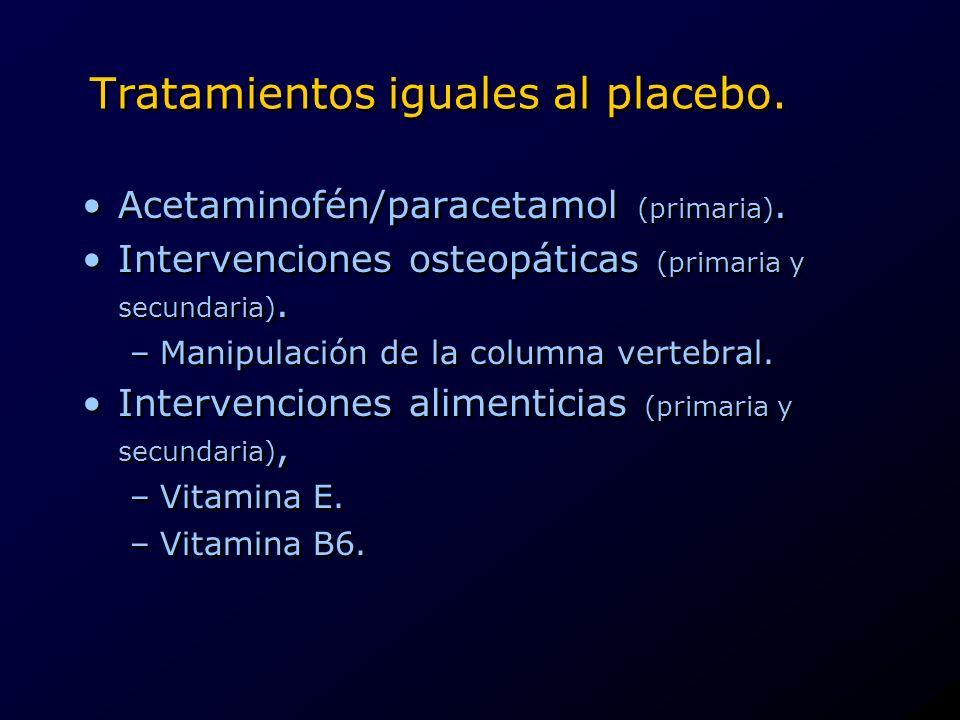 Tratamientos iguales al placebo. Acetaminofén/paracetamol (primaria). Intervenciones osteopáticas (primaria y secundaria). –Manipulación de la columna