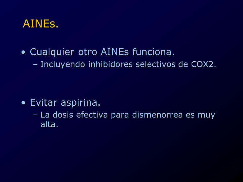 AINEs. Cualquier otro AINEs funciona. –Incluyendo inhibidores selectivos de COX2. Evitar aspirina. –La dosis efectiva para dismenorrea es muy alta. Cu