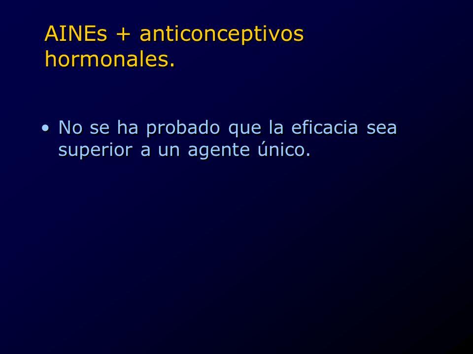 AINEs + anticonceptivos hormonales. No se ha probado que la eficacia sea superior a un agente único.
