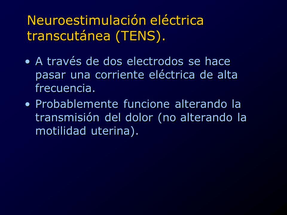 Neuroestimulación eléctrica transcutánea (TENS). A través de dos electrodos se hace pasar una corriente eléctrica de alta frecuencia. Probablemente fu