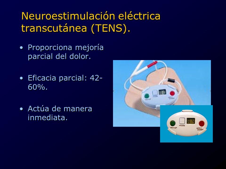 Neuroestimulación eléctrica transcutánea (TENS). Proporciona mejoría parcial del dolor. Eficacia parcial: 42- 60%. Actúa de manera inmediata. Proporci