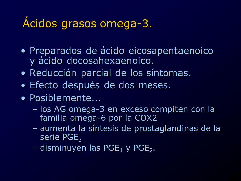 Ácidos grasos omega-3. Preparados de ácido eicosapentaenoico y ácido docosahexaenoico. Reducción parcial de los síntomas. Efecto después de dos meses.