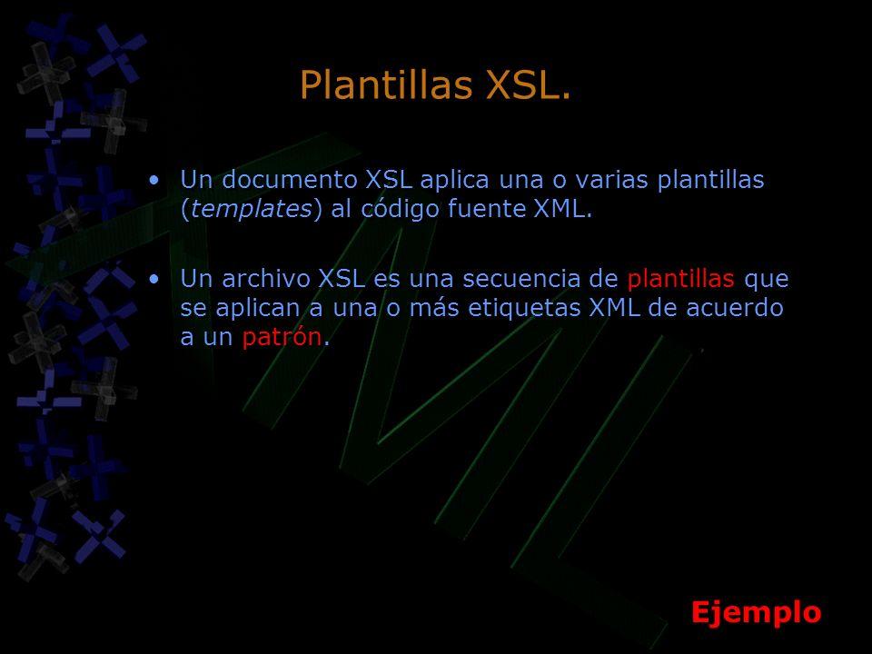 Plantillas XSL. Un documento XSL aplica una o varias plantillas (templates) al código fuente XML.