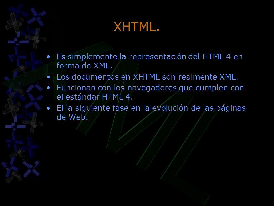 XHTML. Es simplemente la representación del HTML 4 en forma de XML.
