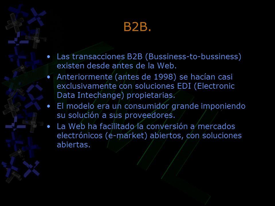 B2B. Las transacciones B2B (Bussiness-to-bussiness) existen desde antes de la Web.