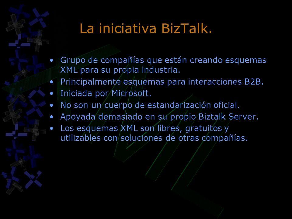 La iniciativa BizTalk. Grupo de compañías que están creando esquemas XML para su propia industria.