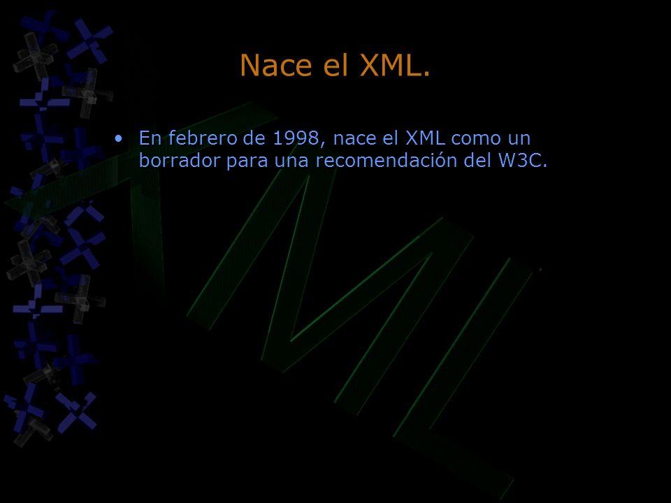 Nace el XML. En febrero de 1998, nace el XML como un borrador para una recomendación del W3C.