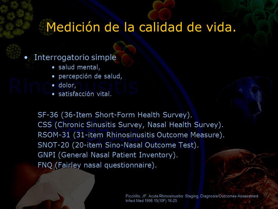 Medición de la calidad de vida. Interrogatorio simple salud mental, percepción de salud, dolor, satisfacción vital. SF-36 (36-Item Short-Form Health S