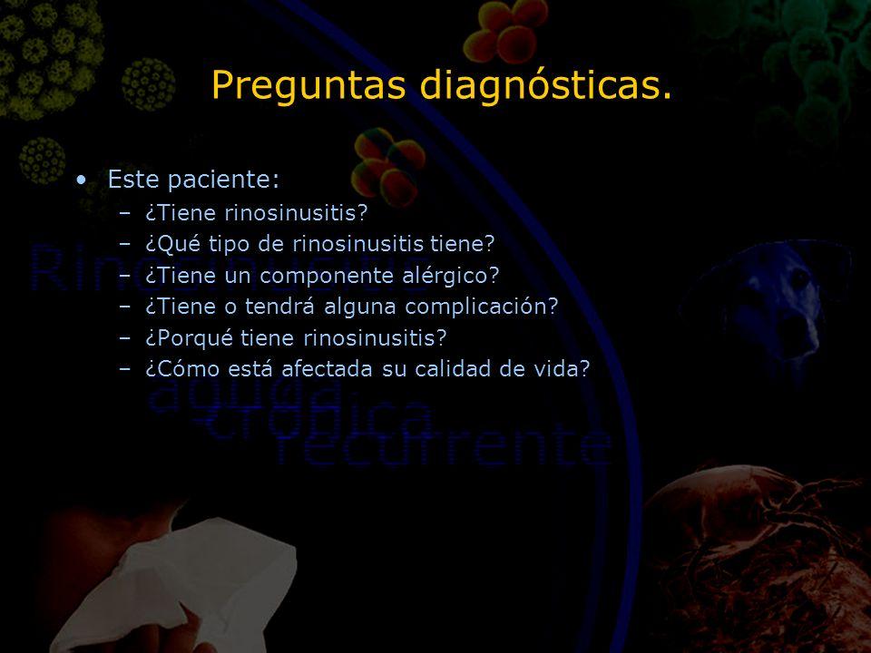 Preguntas diagnósticas. Este paciente: –¿Tiene rinosinusitis? –¿Qué tipo de rinosinusitis tiene? –¿Tiene un componente alérgico? –¿Tiene o tendrá algu
