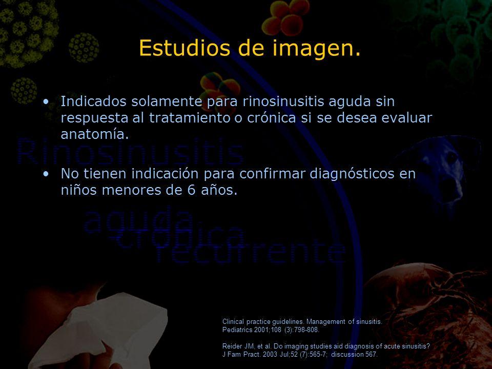 Estudios de imagen. Indicados solamente para rinosinusitis aguda sin respuesta al tratamiento o crónica si se desea evaluar anatomía. No tienen indica