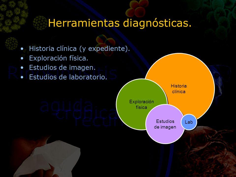 Herramientas diagnósticas. Historia clínica (y expediente). Exploración física. Estudios de imagen. Estudios de laboratorio. Historia clínica (y exped