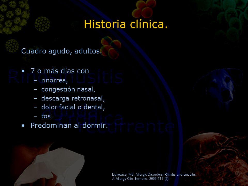 Historia clínica. Cuadro agudo, adultos. 7 o más días con –rinorrea, –congestión nasal, –descarga retronasal, –dolor facial o dental, –tos. Predominan