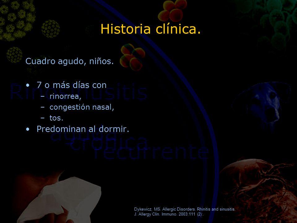 Historia clínica. Cuadro agudo, niños. 7 o más días con –rinorrea, –congestión nasal, –tos. Predominan al dormir. Cuadro agudo, niños. 7 o más días co