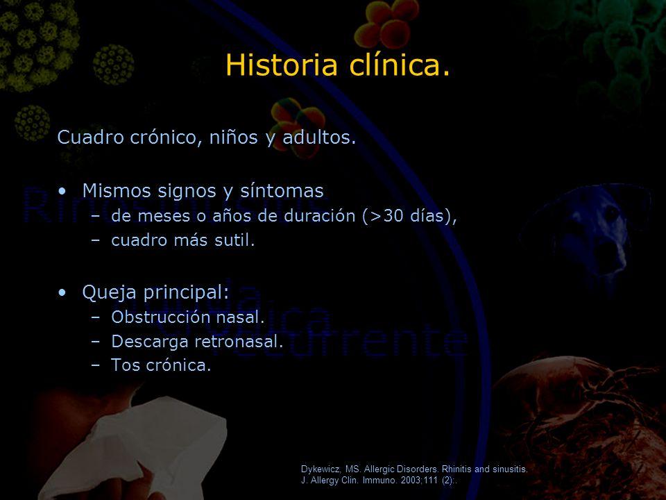 Historia clínica. Cuadro crónico, niños y adultos. Mismos signos y síntomas –de meses o años de duración (>30 días), –cuadro más sutil. Queja principa