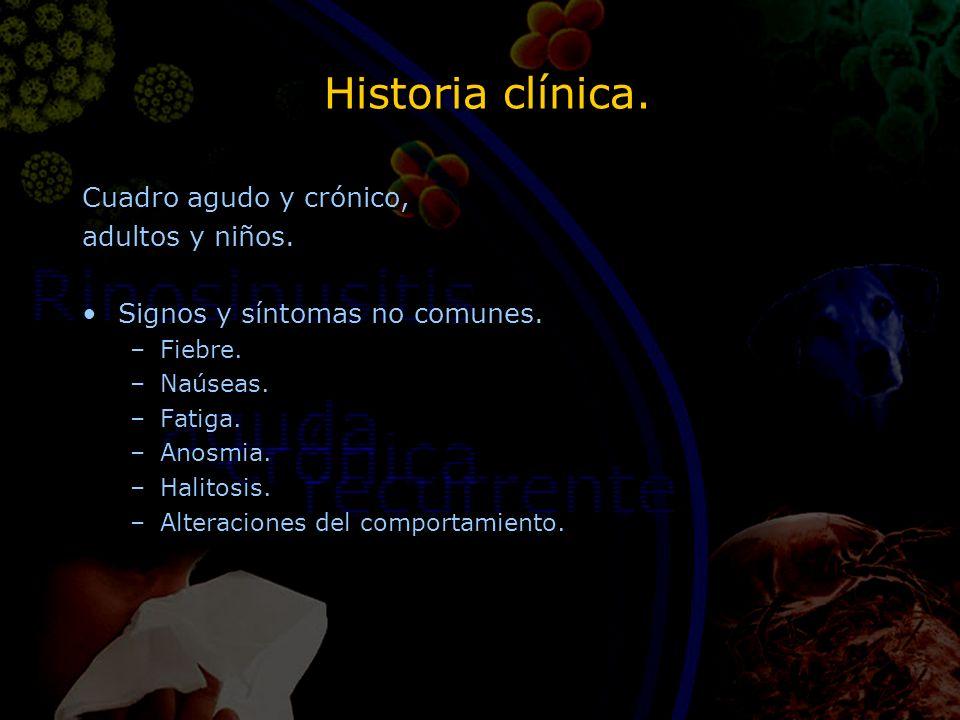 Historia clínica. Cuadro agudo y crónico, adultos y niños. Signos y síntomas no comunes. –Fiebre. –Naúseas. –Fatiga. –Anosmia. –Halitosis. –Alteracion