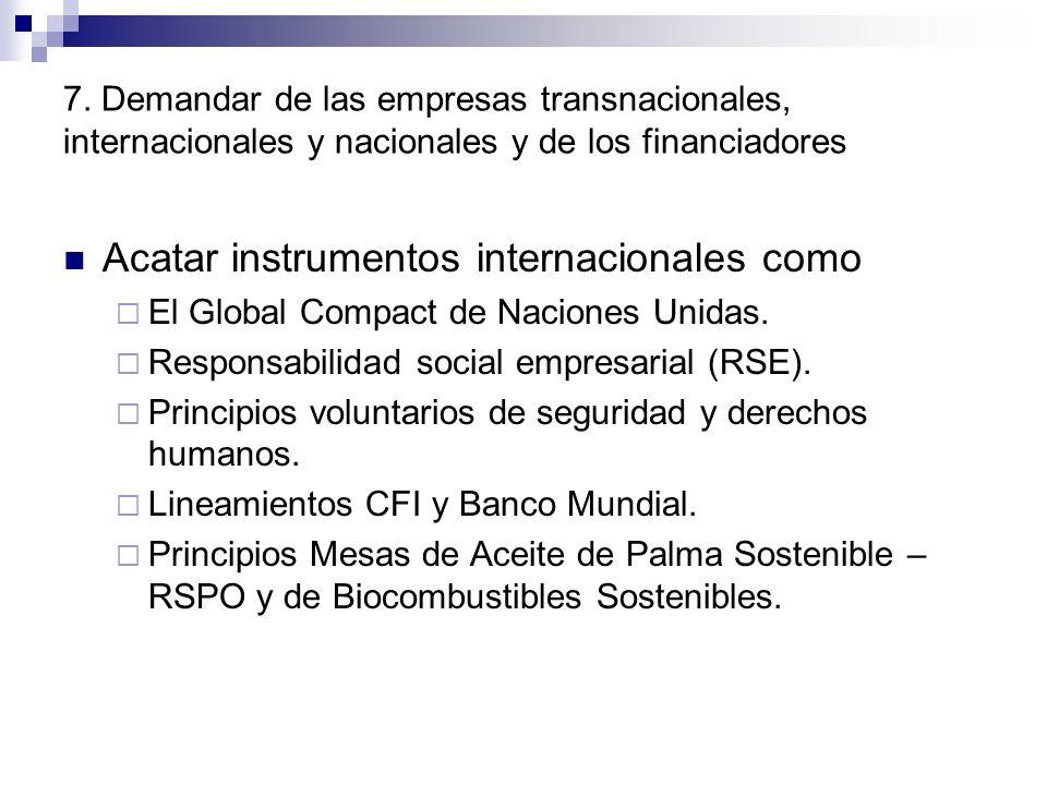 7. Demandar de las empresas transnacionales, internacionales y nacionales y de los financiadores Acatar instrumentos internacionales como El Global Co