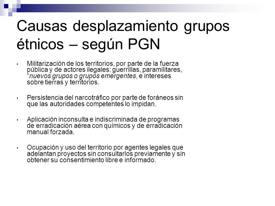 Causas desplazamiento grupos étnicos – según PGN Militarización de los territorios, por parte de la fuerza pública y de actores ilegales: guerrillas, paramilitares,nuevos grupos o grupos emergentes, e intereses sobre tierras y territorios.