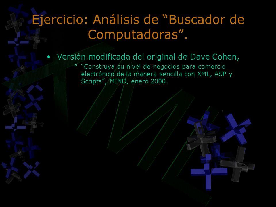 Ejercicio: Análisis de Buscador de Computadoras. Versión modificada del original de Dave Cohen, °Construya su nivel de negocios para comercio electrón