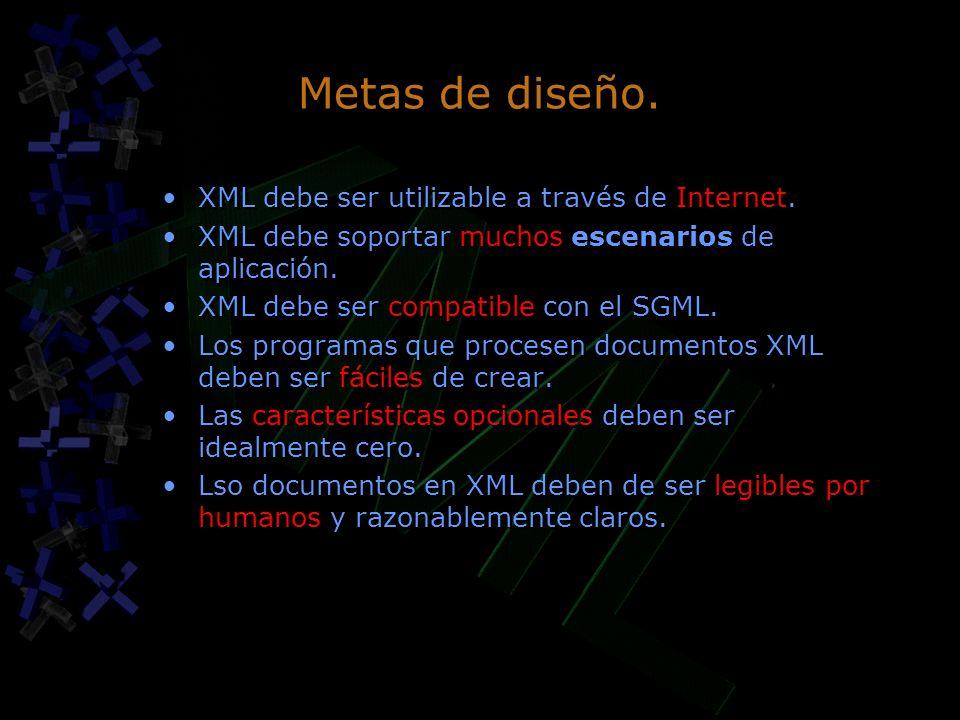 Metas de diseño. XML debe ser utilizable a través de Internet. XML debe soportar muchos escenarios de aplicación. XML debe ser compatible con el SGML.