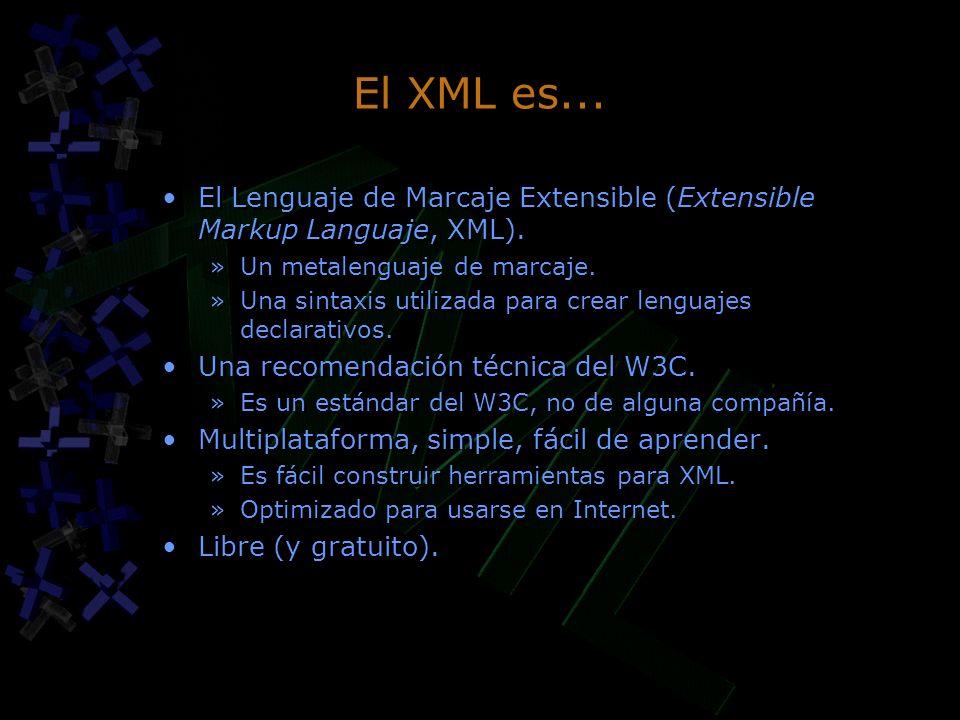 El XML es... El Lenguaje de Marcaje Extensible (Extensible Markup Languaje, XML). »Un metalenguaje de marcaje. »Una sintaxis utilizada para crear leng