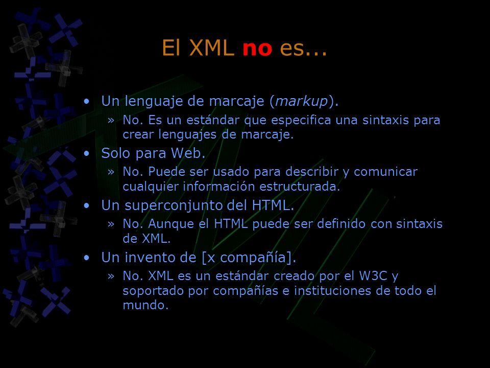 El XML no es... Un lenguaje de marcaje (markup). »No. Es un estándar que especifica una sintaxis para crear lenguajes de marcaje. Solo para Web. »No.