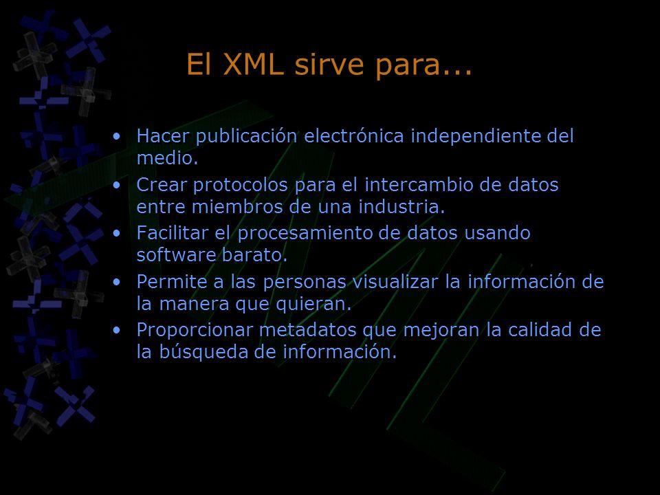 El XML sirve para... Hacer publicación electrónica independiente del medio. Crear protocolos para el intercambio de datos entre miembros de una indust