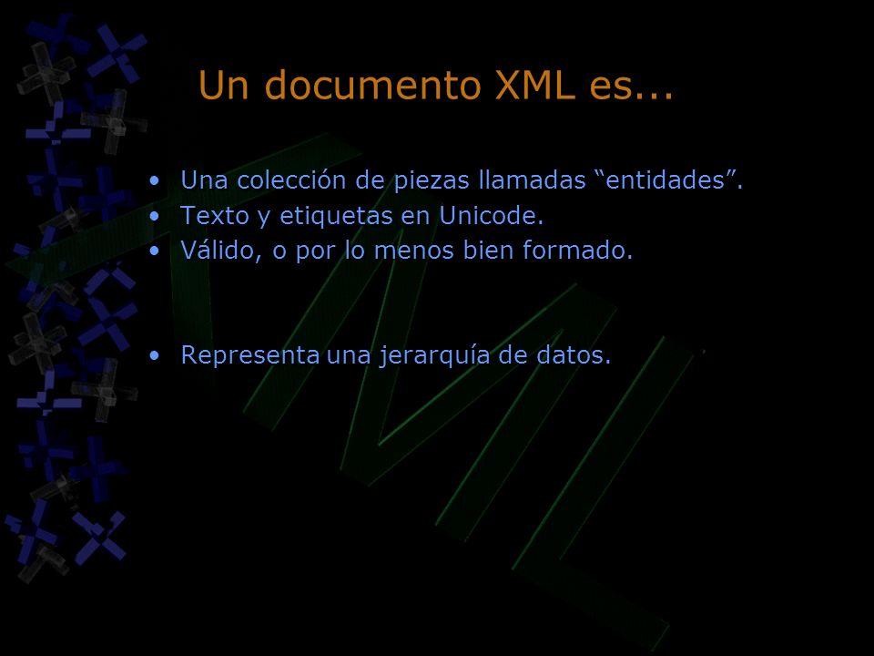 Un documento XML es... Una colección de piezas llamadas entidades. Texto y etiquetas en Unicode. Válido, o por lo menos bien formado. Representa una j