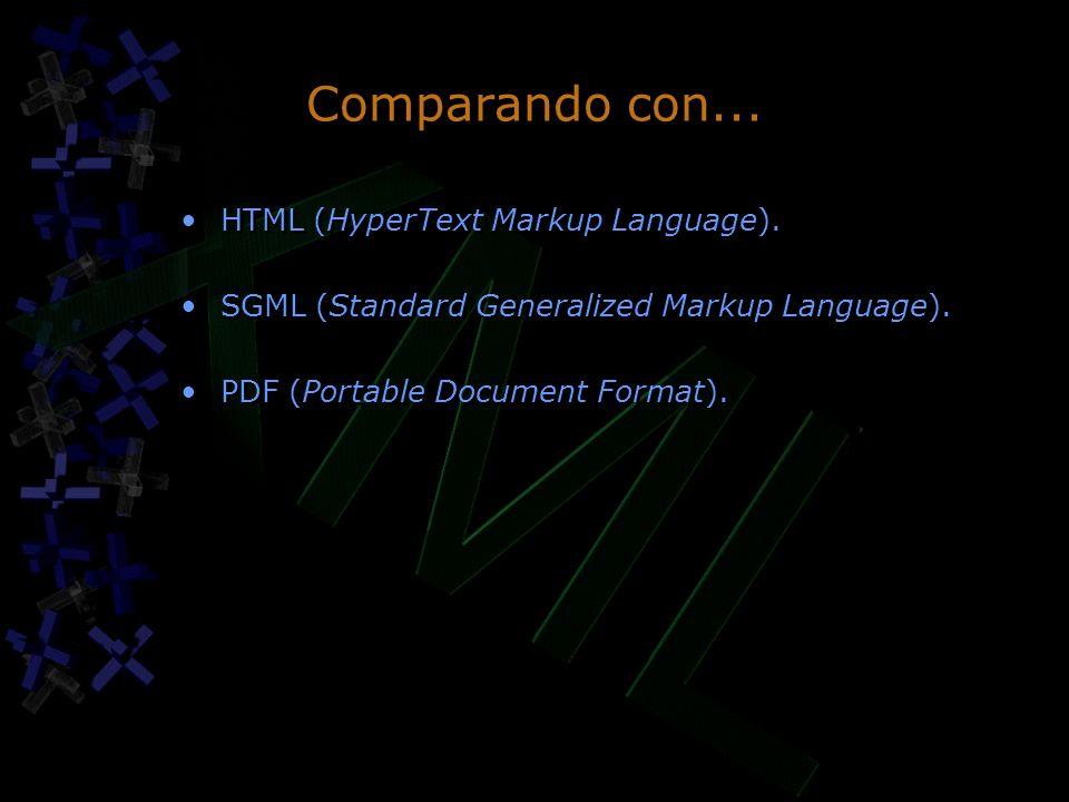 Comparando con... HTML (HyperText Markup Language). SGML (Standard Generalized Markup Language). PDF (Portable Document Format). HTML (HyperText Marku