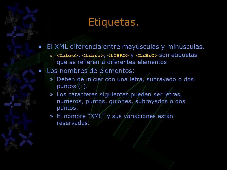 Etiquetas. El XML diferencía entre mayúsculas y minúsculas. »,, y son etiquetas que se refieren a diferentes elementos. Los nombres de elementos: »Deb