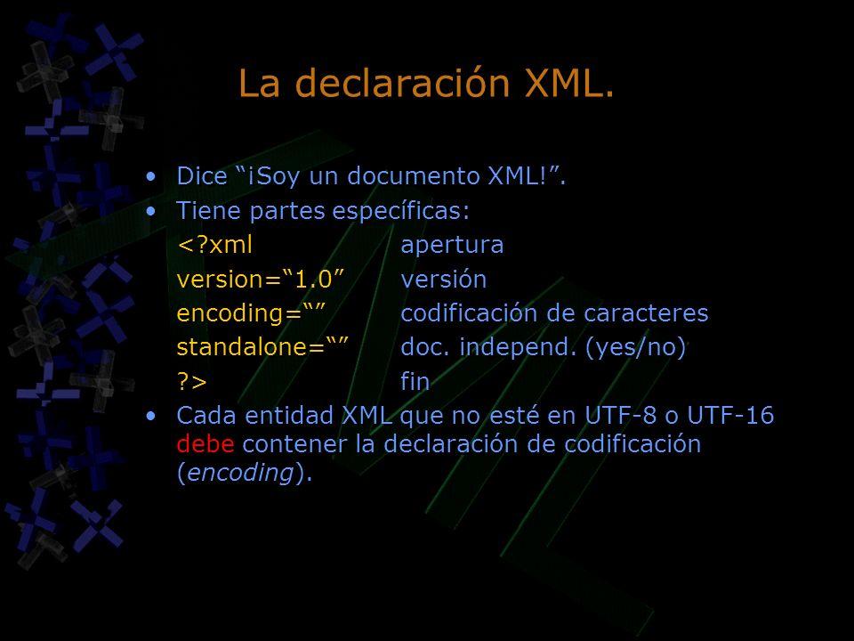 La declaración XML. Dice ¡Soy un documento XML!. Tiene partes específicas: <?xmlapertura version=1.0versión encoding=codificación de caracteres standa