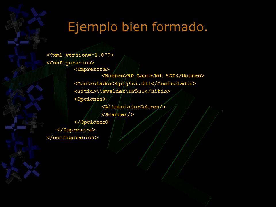 Ejemplo bien formado. HP LaserJet 5SI hplj5si.dll \\mvaldez\HP5SI HP LaserJet 5SI hplj5si.dll \\mvaldez\HP5SI