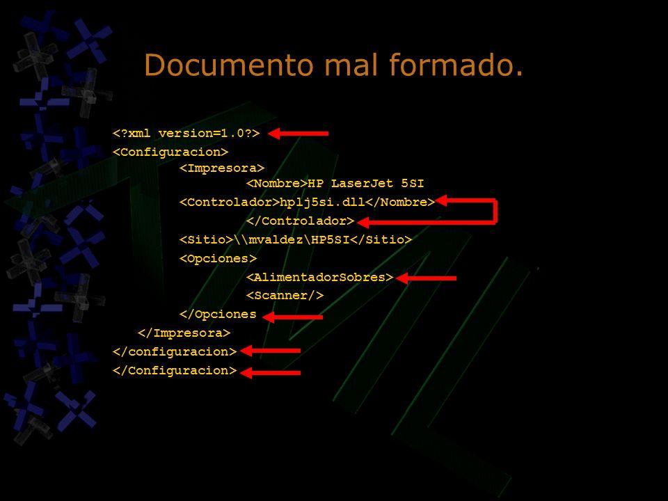 Documento mal formado. HP LaserJet 5SI hplj5si.dll \\mvaldez\HP5SI </Opciones HP LaserJet 5SI hplj5si.dll \\mvaldez\HP5SI </Opciones