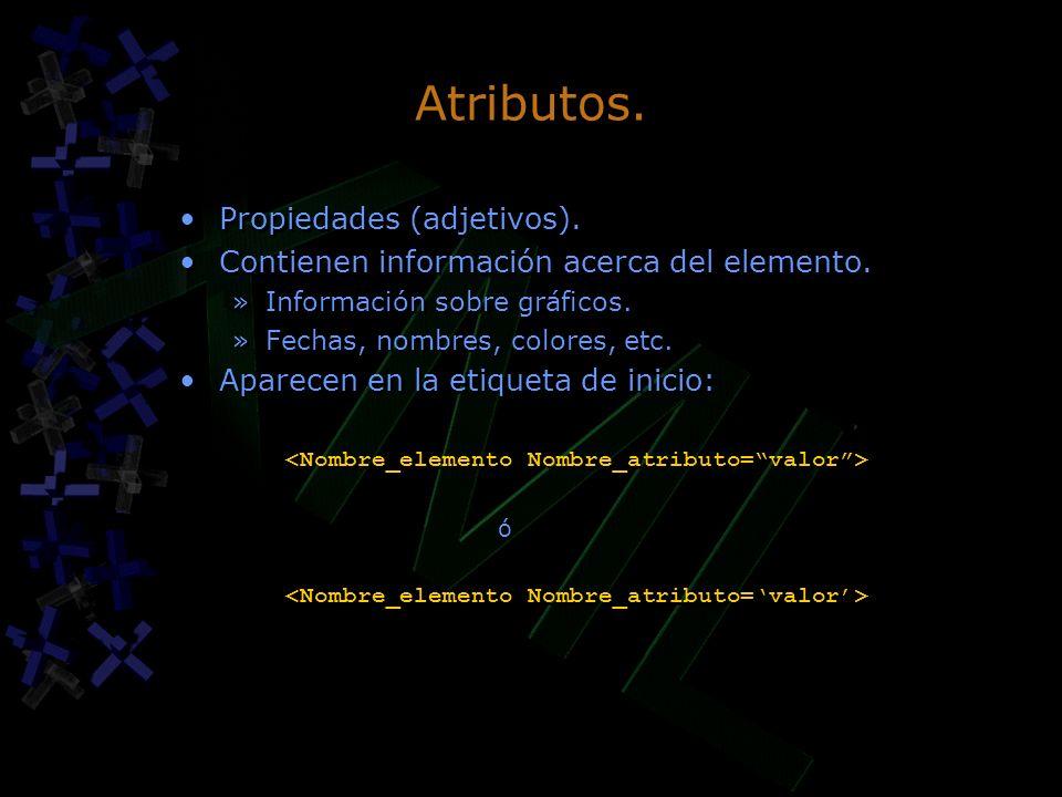 Atributos. Propiedades (adjetivos). Contienen información acerca del elemento. »Información sobre gráficos. »Fechas, nombres, colores, etc. Aparecen e