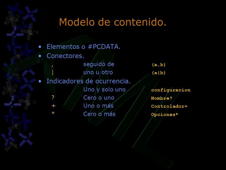 Modelo de contenido. Elementos o #PCDATA. Conectores.,seguido de (a,b) |uno u otro (a|b) Indicadores de ocurrencia. Uno y solo uno configuracion ? Cer