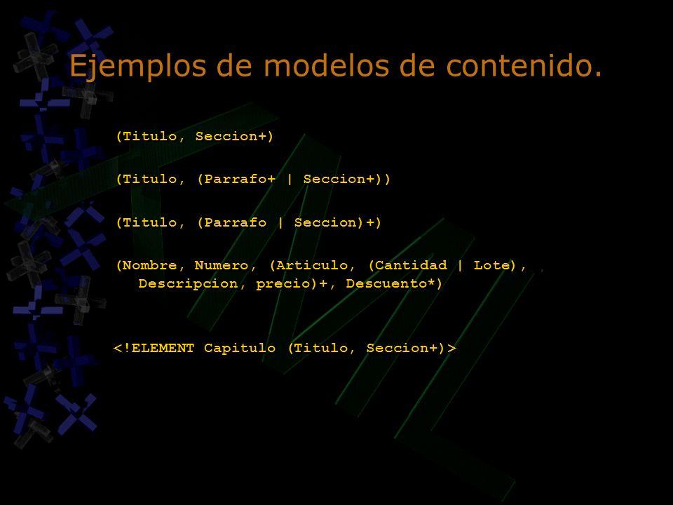 Ejemplos de modelos de contenido. (Titulo, Seccion+) (Titulo, (Parrafo+ | Seccion+)) (Titulo, (Parrafo | Seccion)+) (Nombre, Numero, (Articulo, (Canti
