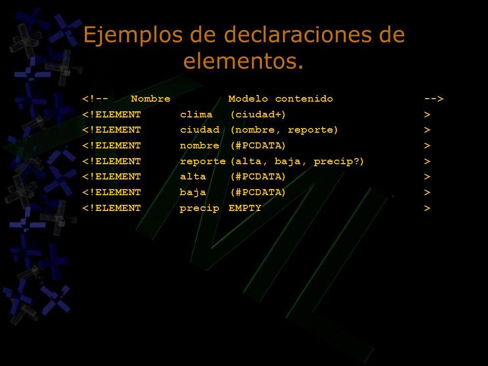 Ejemplos de declaraciones de elementos.