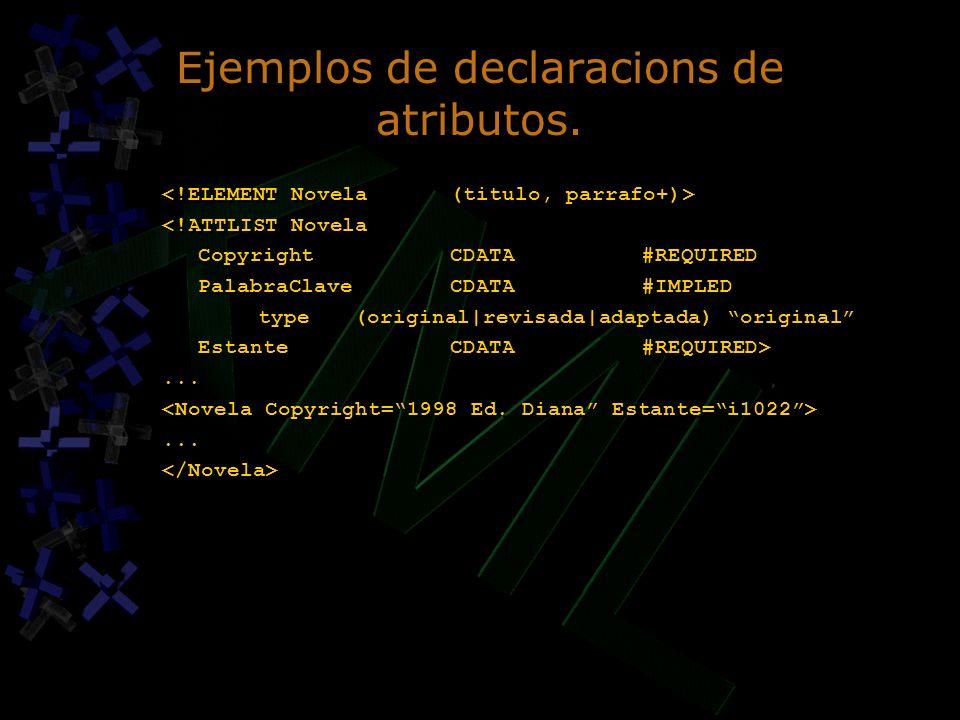 Ejemplos de declaracions de atributos. <!ATTLIST Novela CopyrightCDATA#REQUIRED PalabraClaveCDATA#IMPLED type(original|revisada|adaptada) original Est
