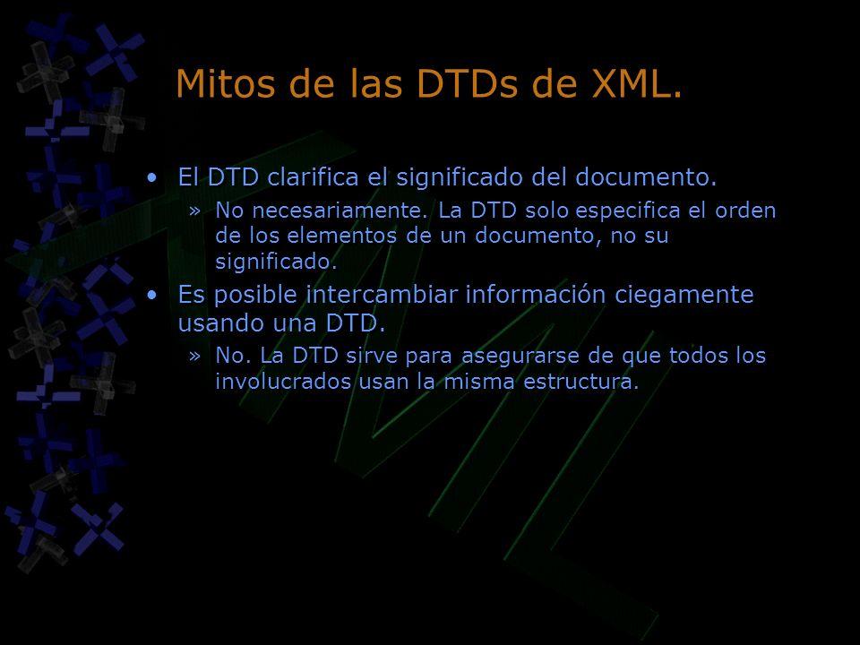 Mitos de las DTDs de XML. El DTD clarifica el significado del documento. »No necesariamente. La DTD solo especifica el orden de los elementos de un do