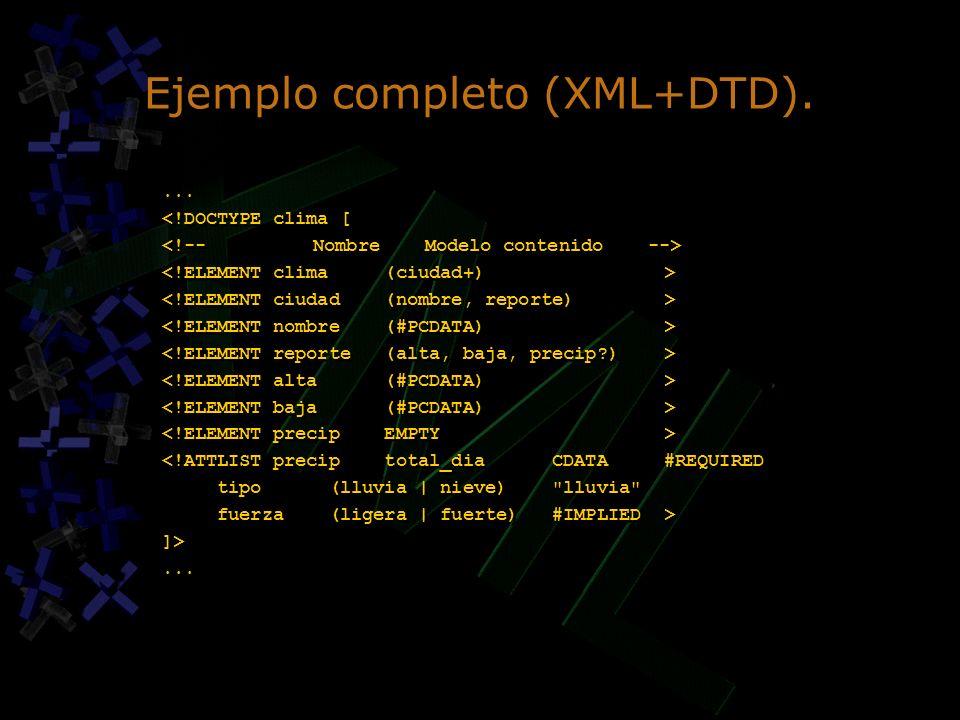 Ejemplo completo (XML+DTD).... <!DOCTYPE clima [ <!ATTLIST precip total_dia CDATA #REQUIRED tipo (lluvia | nieve)