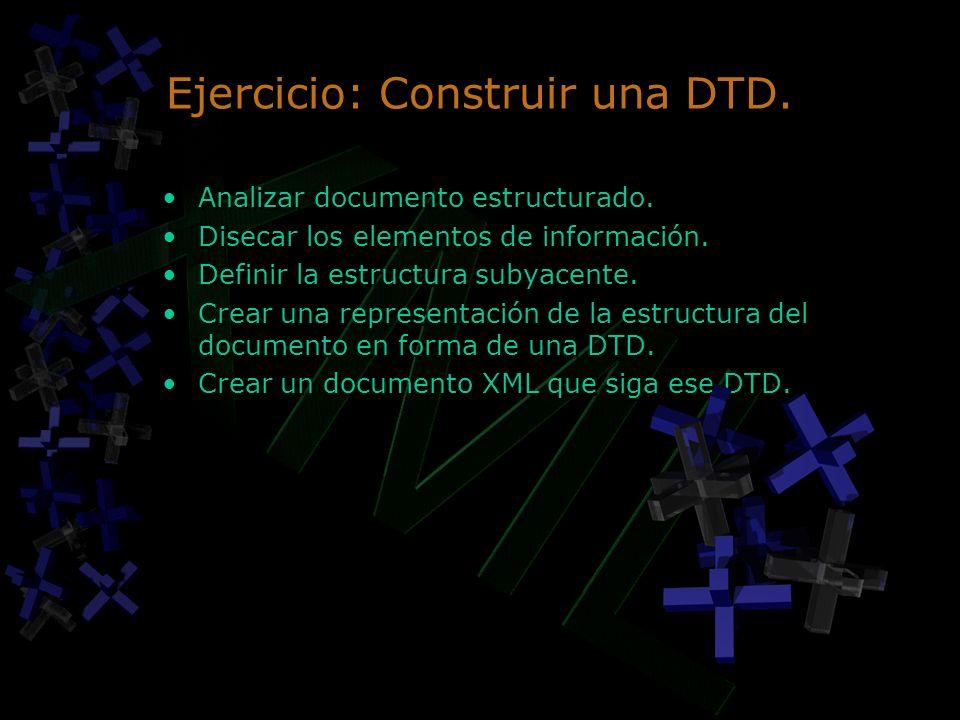 Ejercicio: Construir una DTD. Analizar documento estructurado. Disecar los elementos de información. Definir la estructura subyacente. Crear una repre