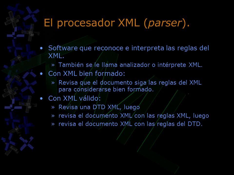 El procesador XML (parser). Software que reconoce e interpreta las reglas del XML. »También se le llama analizador o intérprete XML. Con XML bien form