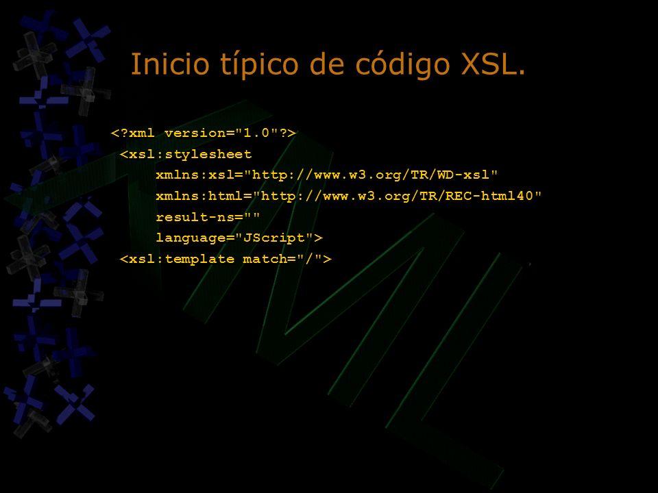Inicio típico de código XSL. <xsl:stylesheet xmlns:xsl=