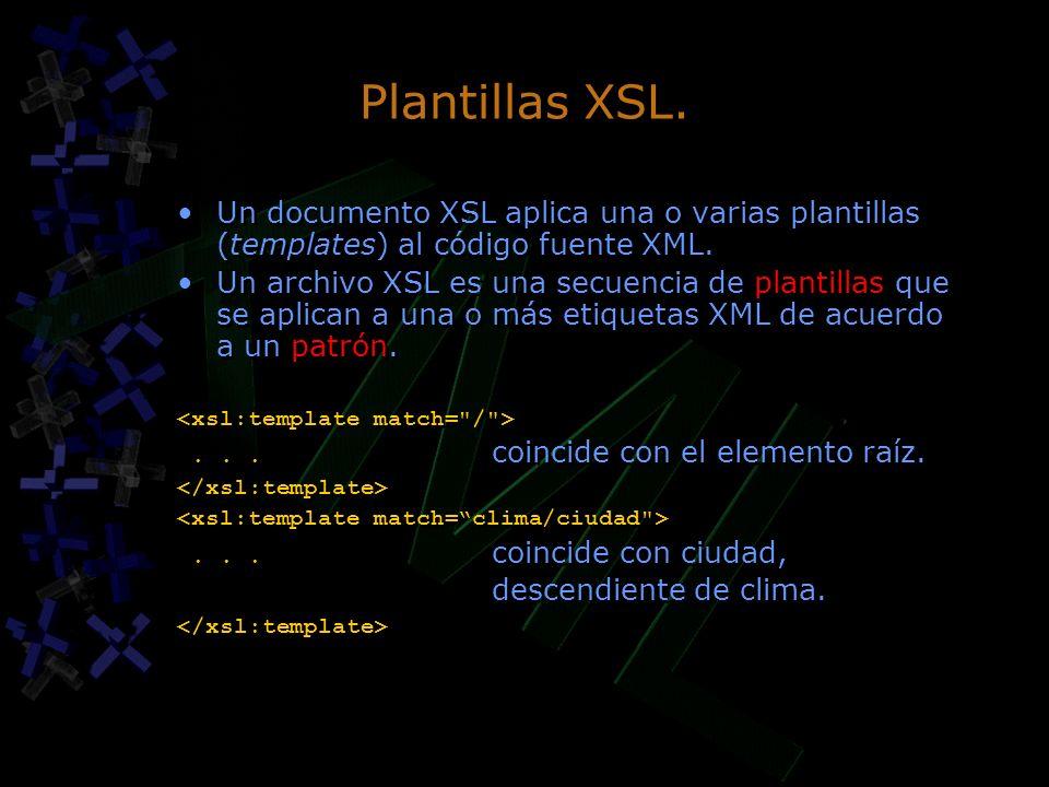 Plantillas XSL. Un documento XSL aplica una o varias plantillas (templates) al código fuente XML. Un archivo XSL es una secuencia de plantillas que se