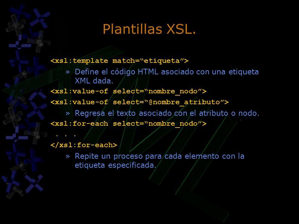 Plantillas XSL. »Define el código HTML asociado con una etiqueta XML dada. »Regresa el texto asociado con el atributo o nodo.... »Repite un proceso pa
