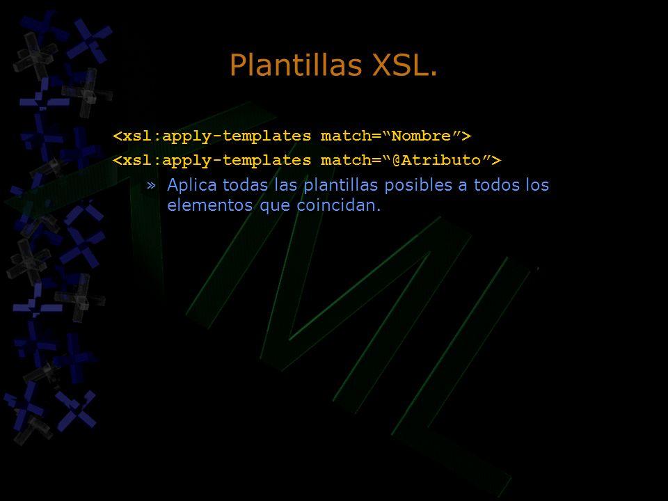 Plantillas XSL. »Aplica todas las plantillas posibles a todos los elementos que coincidan. »Aplica todas las plantillas posibles a todos los elementos