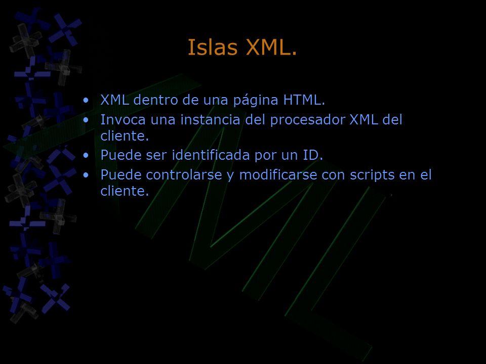 Islas XML. XML dentro de una página HTML. Invoca una instancia del procesador XML del cliente. Puede ser identificada por un ID. Puede controlarse y m