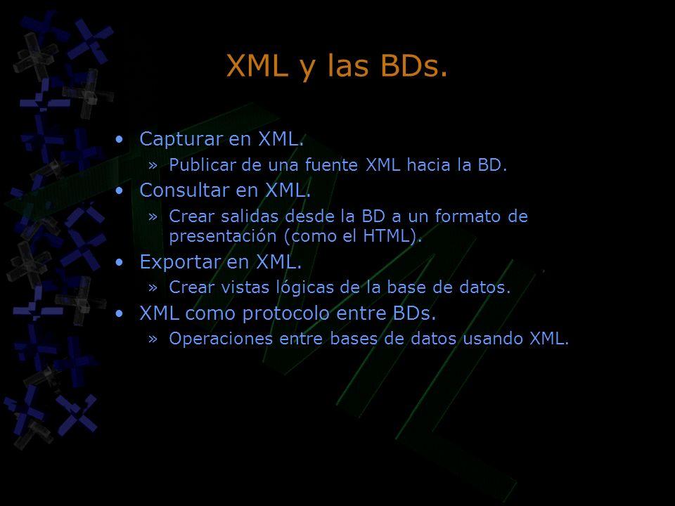 XML y las BDs. Capturar en XML. »Publicar de una fuente XML hacia la BD. Consultar en XML. »Crear salidas desde la BD a un formato de presentación (co