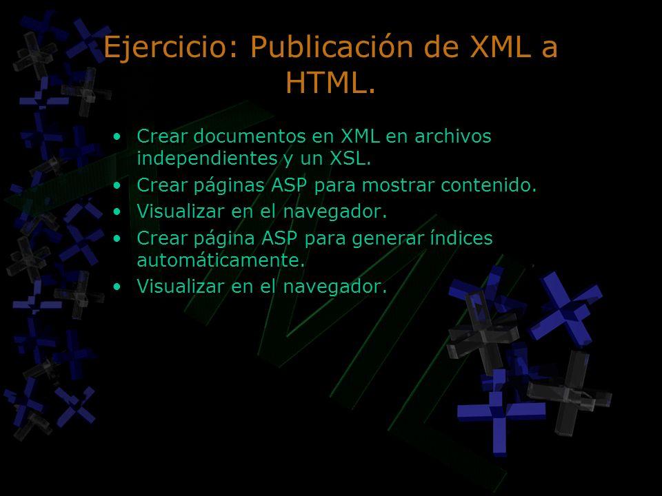 Ejercicio: Publicación de XML a HTML. Crear documentos en XML en archivos independientes y un XSL. Crear páginas ASP para mostrar contenido. Visualiza