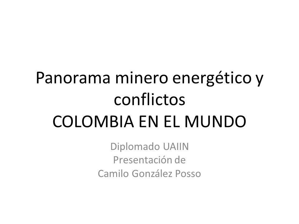 contenido Panorama global de la energía Ubicación de Colombia Conflictos minero energéticos Ejemplos en regiones Oferta de las multinacionales Agenda desde abajo Alternativas de politica minero energética